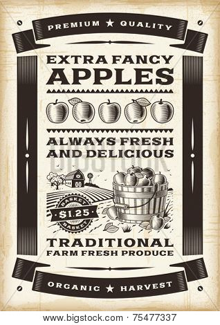 Vintage apple harvest poster. Editable EPS10 vector.
