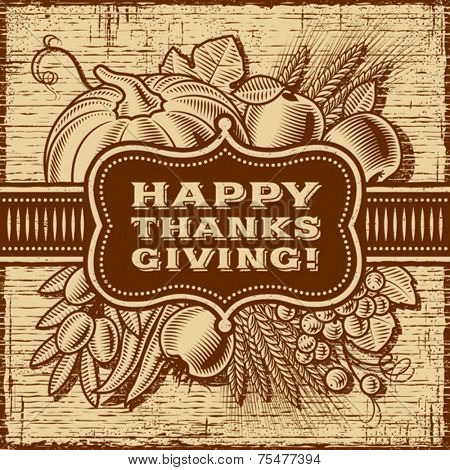 Happy Thanksgiving Retro Card. Fully editable monochrome vector.