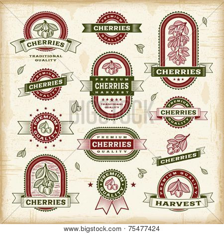 Vintage cherry labels set. Fully editable EPS10 vector.