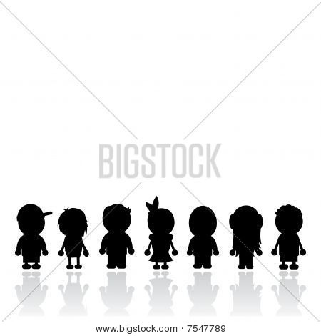 Kids Silhouettes Template