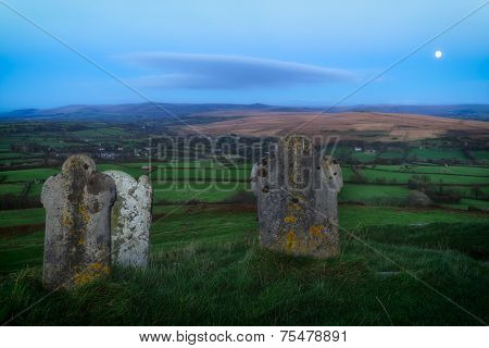 Gravestones At Brentor On Dartmoor