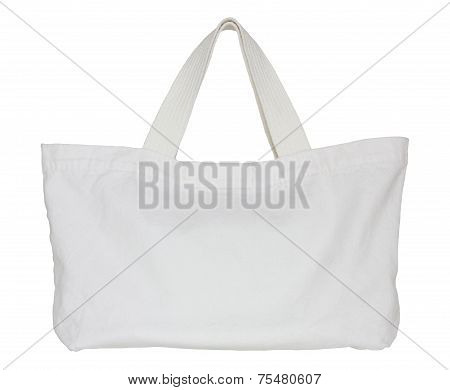 White Fabric Bag Isolated On White Background With Clipping Path