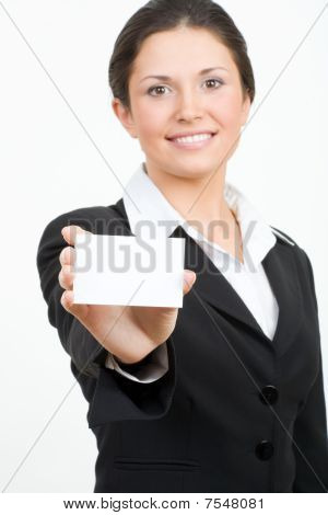 Busineswoman With Card