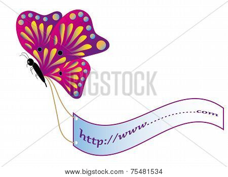 Butterfly and advertising poster
