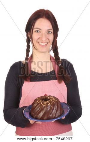 Housewife Showing Off Bundt Cake