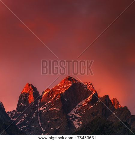 beauty pink sunset on himalaya mountain