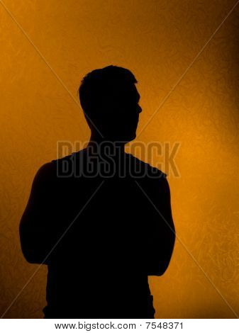 Confidence. Back Lit Silhouette Of Man