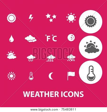 weather, climate black isolated icons, signs, symbols, illustrations set, vector