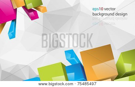 eps10 vector multicolor thee-dimensional squares and triangular business background