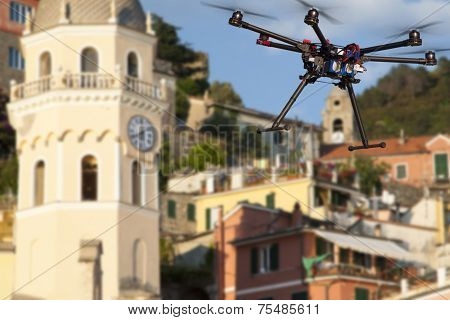 Dlying drone in the skies of Vernaza
