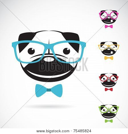 Vector Images Of Pug Dog Wearing Glasses