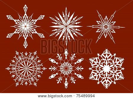 Set Of Snowflakes, Red Background. Vector Illustration.