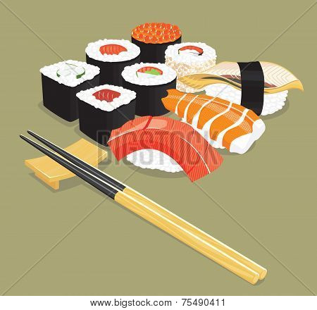 Sushi - Vector illustration