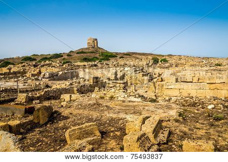 Watchtower And Ruins Of Ancient Tharros In Sardinia