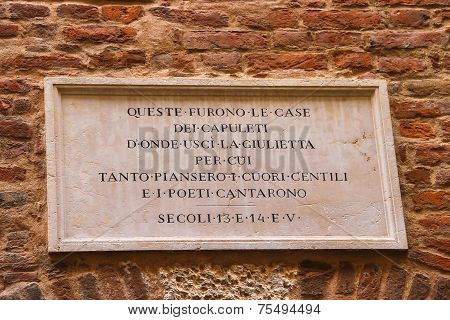 Memorial Plaque On Wall Of The House Juliet In Verona, Italy
