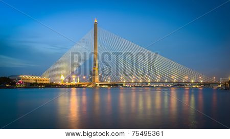 Bangkok Rama VIII bridge at twilight