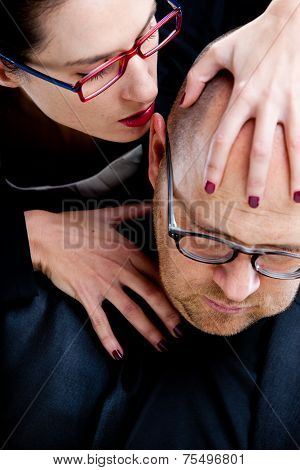 Woman Whispering Nastily Venom In Man's Ear