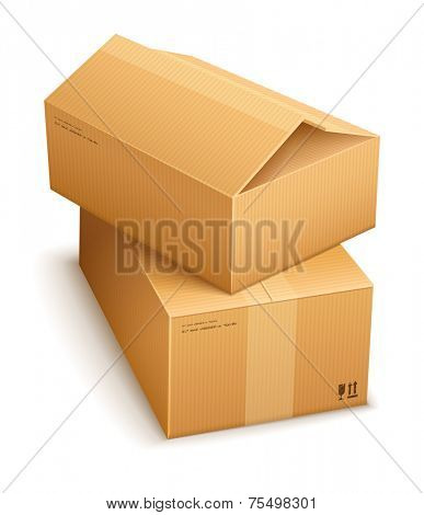 Cardboard boxes for mail delivery. Eps10 vector illustration. Isolated on white background