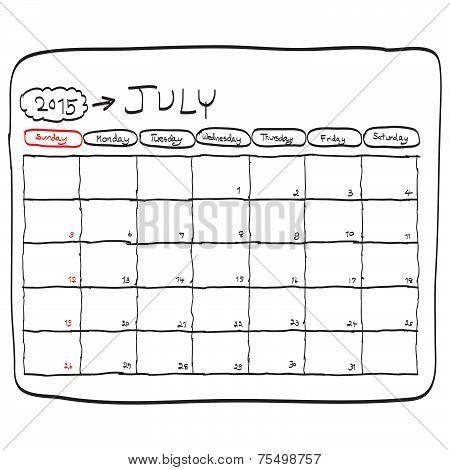 July 2015 Planning Calendar Vector, Doodles Hand Drawn