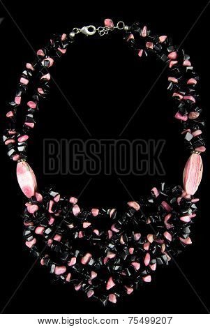 Necklace with Pink and Black Stones, on Black Background