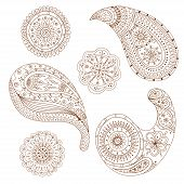 stock photo of henna tattoo  - Henna Paisley Mehndi Abstract Floral Asian Vector Illustration Design Element - JPG