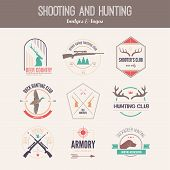 pic of duck-hunting  - Hunting club label collecton made in vector - JPG