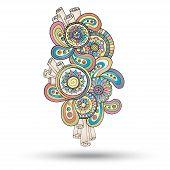 stock photo of mehndi  - Colored Version Of Henna Paisley Mehndi Abstract Floral Vector Illustration Design Element - JPG