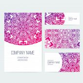 foto of indian wedding  - Set of business card and invitation card templates with lace ornament - JPG