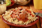 picture of meatballs  - Italian meatballs and marinara sauce on gluten free brown rice and quinoa fusilli pasta - JPG