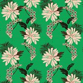 pic of lilly  - An illustration of lillies flowers and leaves seamless pattern - JPG