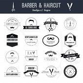 stock photo of barber  - Perfect set of barber and haircut logos - JPG