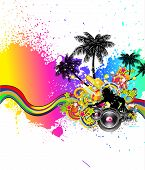 picture of beach party  - Tropical Music and Latin Disco Event Background for Flyers - JPG