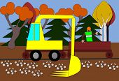 stock photo of rectifier  - Excavator regulates the terrain around the track - JPG