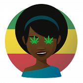 stock photo of rastaman  - Illustration of an isolated avatar with marijuana leafs - JPG