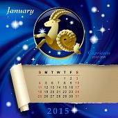 foto of capricorn  - Simple monthly page of 2015 Calendar with gold zodiacal sign against the blue star space background - JPG
