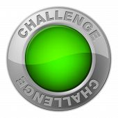 picture of overcoming obstacles  - Challenge Button Representing Overcome Obstacles And Challenges - JPG