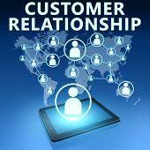 image of customer relationship management  - Customer Relationship illustration with tablet computer on blue background - JPG