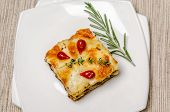 foto of lasagna  - Portion Of Lasagna On The Square Plate - JPG