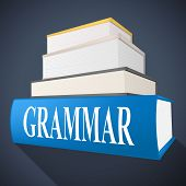 stock photo of grammar  - Grammar Book Showing Rules Of Language And Tutoring Learning - JPG