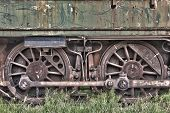 foto of train-wheel  - Rusty wheels of abandoned train in Belgium - JPG