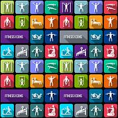 picture of gym workout  - Workout sport and fitness gym training decorative icons flat set isolated vector illustration - JPG