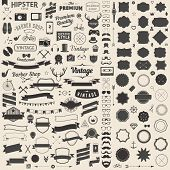 picture of anchor  - Huge set of vintage styled design hipster icons - JPG