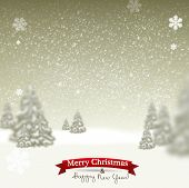 image of starry sky  - Beautiful Christmas background with blurred Christmas trees - JPG