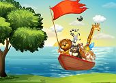 pic of noah  - Animals in ark boat at shore - JPG