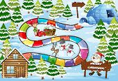 stock photo of igloo  - Christmas board game in winter - JPG