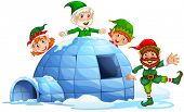 image of igloo  - Christmas elves and an igloo - JPG