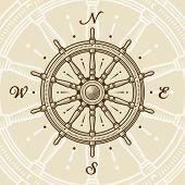 stock photo of rudder  - Vintage ship wheel - JPG