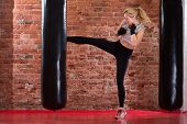 image of punch  - fit boxing girl kicking at punching bag
