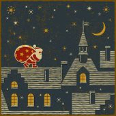 picture of crescent-shaped  - Santa on the roof - JPG
