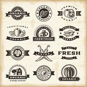 stock photo of peppers  - Vintage organic harvest stamps set - JPG